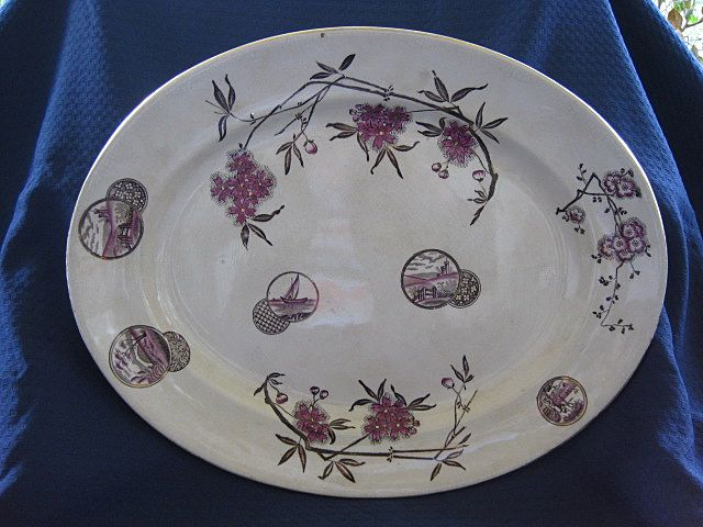 Antique Large Aesthetic English Staffordshire Transferware Platter