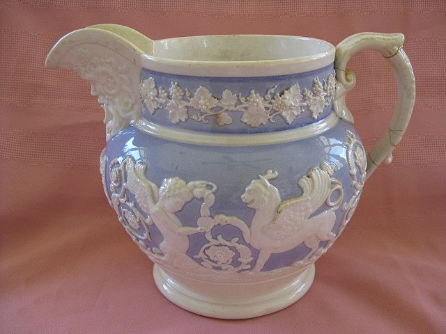 Relief Molded Antique Mythological Blue and White Pitcher/Jug