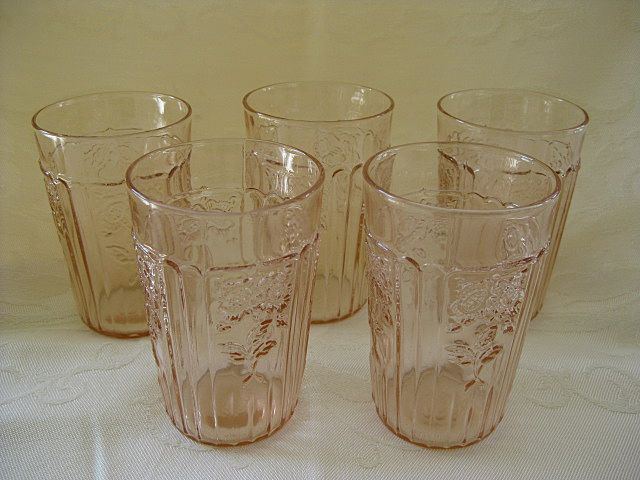 "Set of Five Pink Depression Glass Mayfair ""Open Rose""  Juice Glasses  5 0z. Tumblers"