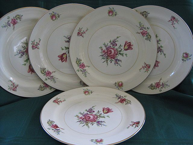 "Set of Five 8"" Priscilla Plates  Homer Laughlin Co."