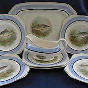 English Eight Piece Fish Set by So Ho Pottery   1930's