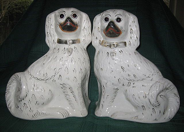 Antique Pair of Staffordshire White Dogs/Spaniels