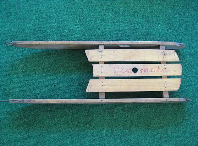 """Vintage Small Wooden Child's Sled """"Playmate"""""""