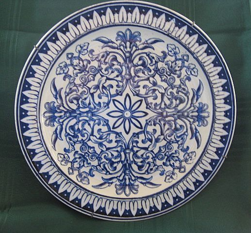 "Blue Transferware Plate ""Teutonic"" by Brown Westhead Moore & Co."