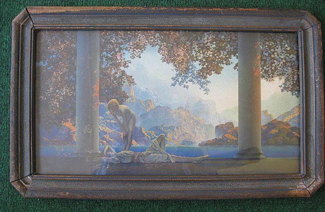 "Vintage Framed Maxfield Parrish ""Daybreak"" Original Print 1923"