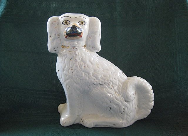 "Single White Staffordshire Spaniel Dog 9"" Tall -  19th Century"