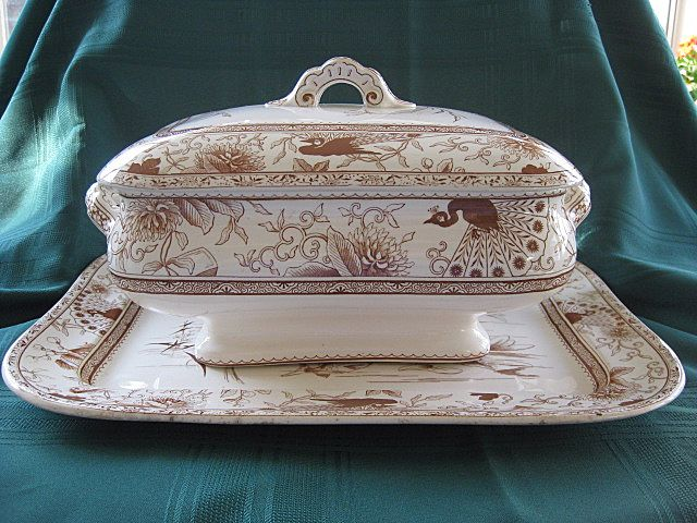 "Doulton ""1884"" Brown Staffordshire Transferware Platter and Tureen Set"