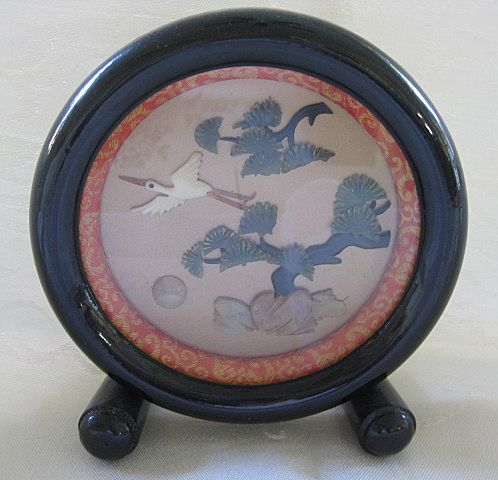 Black Lacquer Frame with Oriental Scene of Semi Precious Stones