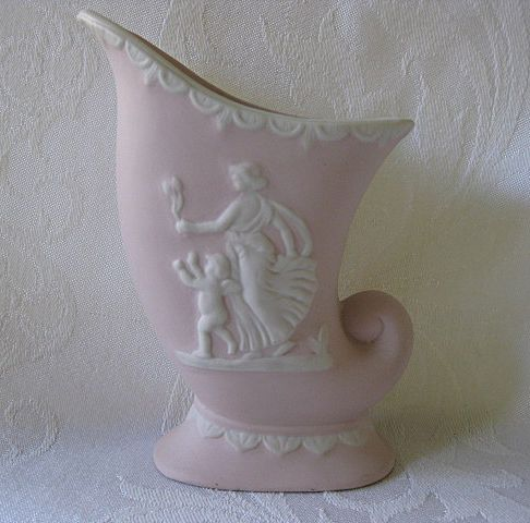 Ucagco Pottery Pink Cornucopia Vase with White Relief Design