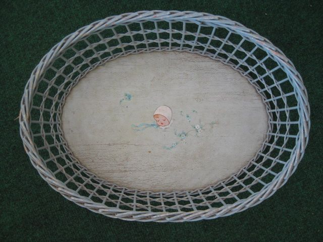 Vintage 1940's-50's Nursery Wicker Basket