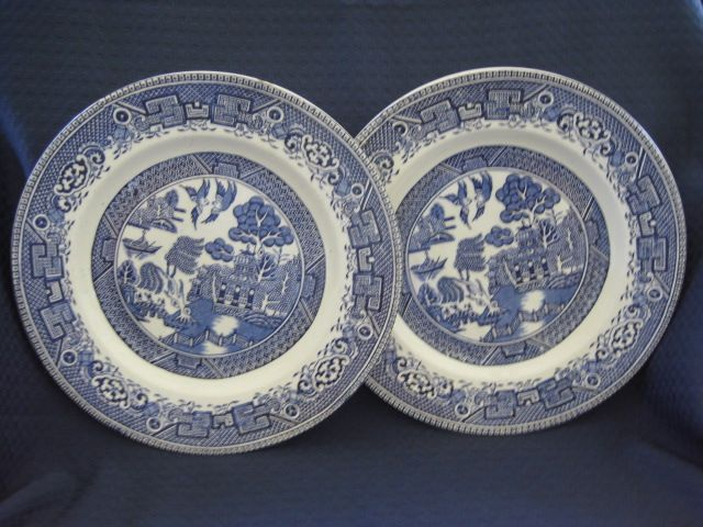 "Two 9"" Blue Willow Plates "" Washington Old Willow"""