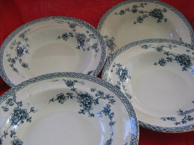 "Set of Four Staffordshire 8 1/2"" Soup Plates/Bowls ""Saxon Pattern"""