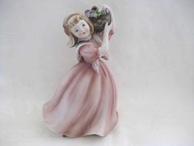Lefton Figurine Girl with Basket of Fruit