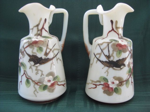 "Pair of Hand Painted 5 1/2"" Bristol Glass White Ruffled Edge Pitchers"