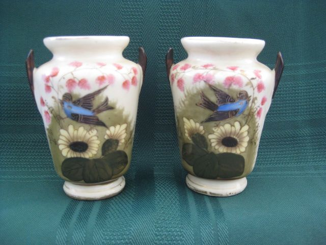 Small Hand Painted Matching Vases with Bird
