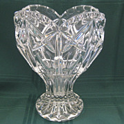 Vintage Pressed Glass Crystal Heart Shape Vase