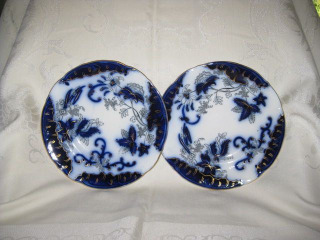 "Two Matching 8"" Flow Blue Plates"