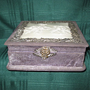 Antique Ladies Victorian Dresser Box with Celluloid Decoration