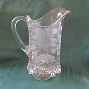 Antique Glass Engraved Pressed Pitcher
