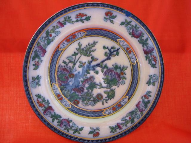 English Staffordshire Oriental Polychrome Plate - Soho Pottery