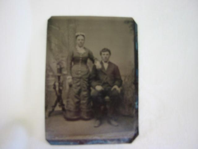 Photographic Tintype Victorian Couple 1860 - 1930