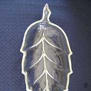 Clear Glass 1950's Leaf Shape Dish