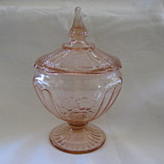 Pink Mayfair Open Rose Depression Glass Compote Candy Dish