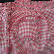 Vintage Pink White Check Cotton Gingham Apron