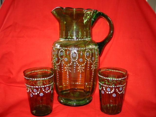 Antique Victorian Green Glass Lemonade Pitcher with Two Tumblers
