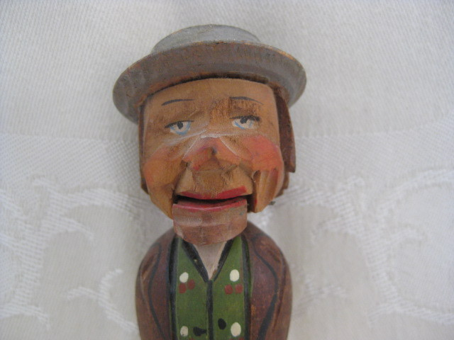 Carved Wooden Anri Man Cork Bottle Stopper