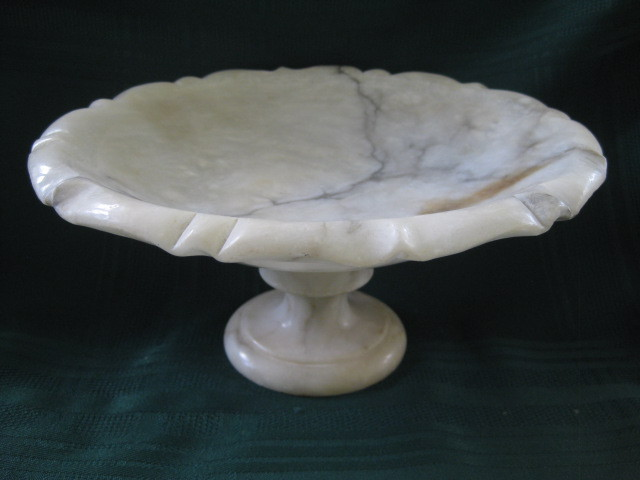 Antique Victorian Alabaster Bowl on Pedestal