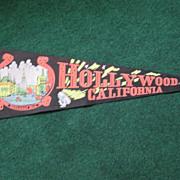 Vintage Souvenir Felt Pennant Hollywood