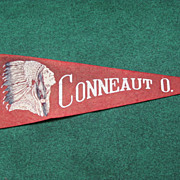Vintage Indian Head Souvenir Pennant Conneaut Ohio