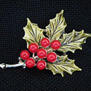 Christmas Pin with Holly and Red Berries