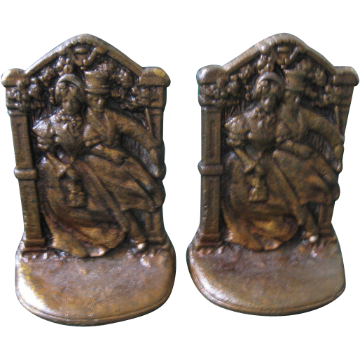 "Vintage Cast Iron Bookends ""Courting Couple"""
