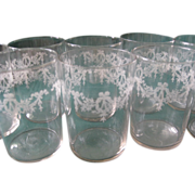 Nine Vintage Crystal Etched Juice Glasses