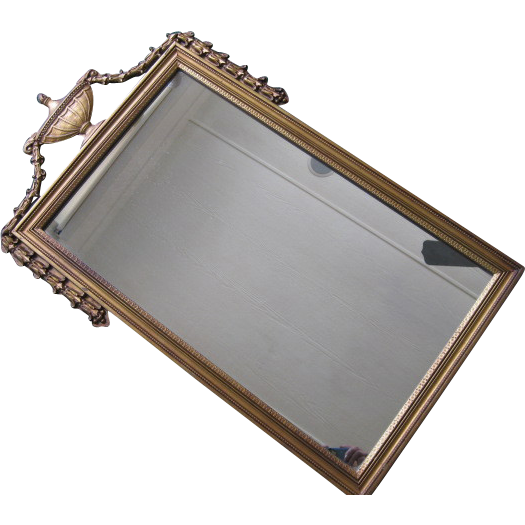 Antique Hand Carved Decorated Gilt Wood Frame Wall Mirror