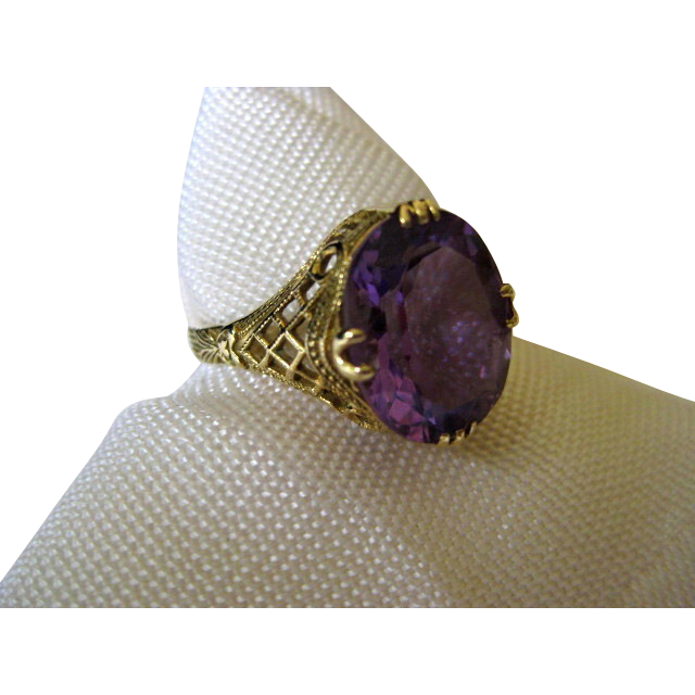 Amethyst 14k Yellow Gold Ring with Lattice Details