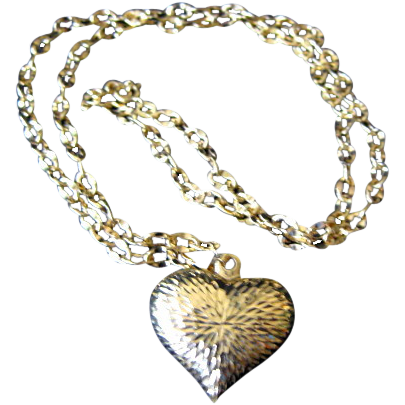 14K Yellow Gold Chain and Heart Necklace