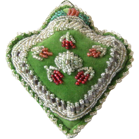 Victorian Beaded Pillow Whimsy Sewing Pin Cushion - Late 1800's