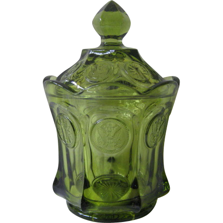 Vintage Fostoria Coin Glass Candy Jar with Lid