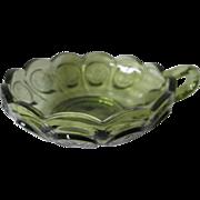 Vintage Fostoria Green Coin Glass Dish