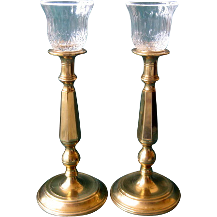 Pair of Tall Brass Candlesticks with Removable Crystal Votive Holders