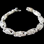 Vintage Sterling Marcasite Link Bracelet