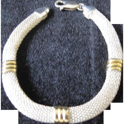 Two Tone Sterling Silver Mesh Bracelet
