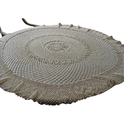 "Vintage Circular 46"" Hand Crochet Tablecloth"