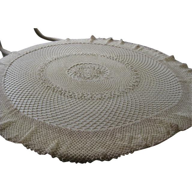 "Vintage Circular 46"" Hand Crochet Tablecloth"