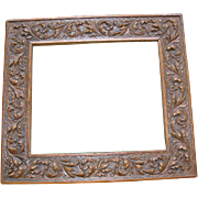 Victorian Wood Picture Frame with Carved Leaves
