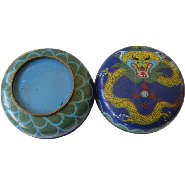 Large Cloisonne Lidded Container -Blue with Yellow Dragon