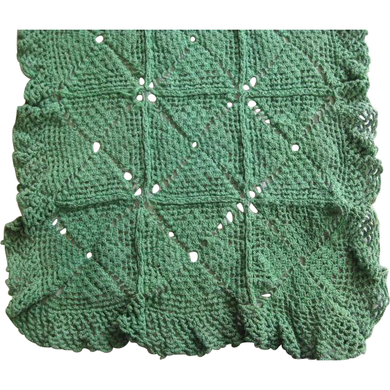 Vintage Green Hand Crochet Runner